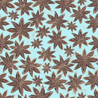 Akwarela ręcznie rysowane wzór z przyprawami anyżu gwiazdki na powierzchni turkusowego papieru vintage