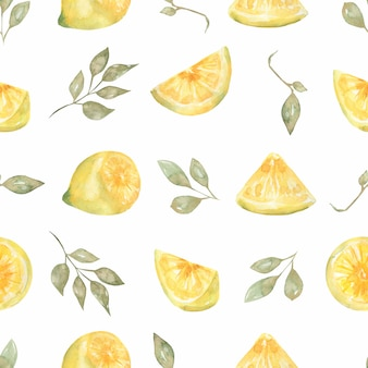 Akwarela ręcznie rysowane wzór. żółte owoce cytrusowe.