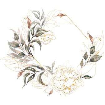 Akwarela ręcznie rysowane zieleni, złote liście i kwiaty rama ilustracja