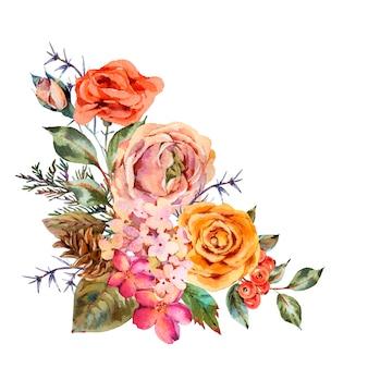 Akwarela rocznika kartkę z życzeniami z róży, hortensji, szyszki, czerwone jagody i kwiaty