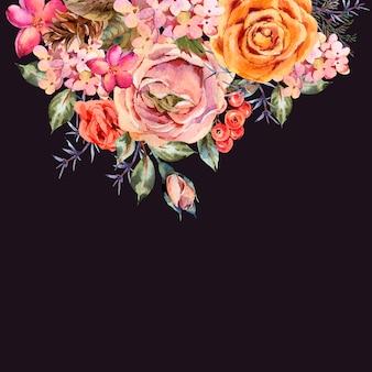 Akwarela rocznika kartkę z życzeniami z róży, hortensji, szyszki, czerwone jagody i kwiaty.