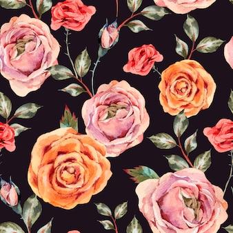 Akwarela rocznika kwiatowy wzór z róż, liści i pąków
