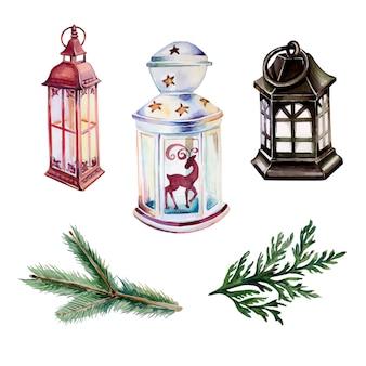 Akwarela rocznika lantens clipartów zestaw na białym tle. ręcznie malowane latarnie świąteczne i ozdoby z jodły.