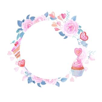 Akwarela romantyczna ramka z sercem, różową różą i słodyczami