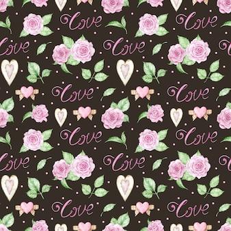 Akwarela romantyczne tło z różowymi różami, sercami i słowem miłości.