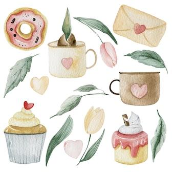 Akwarela różowa kolekcja z ciastami, deserami i wiosennymi tulipanami wielkanocnymi.