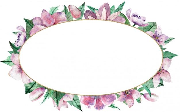 Akwarela różowa owalna ramka z kwiatami i środkowym białym tłem.