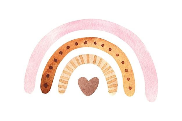 Akwarela różowa pastelowa tęcza z brązowym sercem wewnątrz na białym tle
