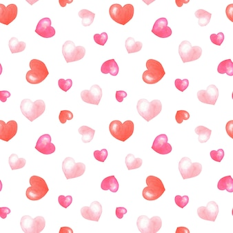Akwarela różowe, czerwone serca na białym tle.romantyczny wzór.