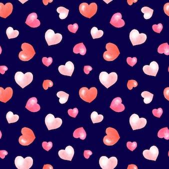 Akwarela różowe, czerwone serca na ciemnoniebieskim białym tle. romantyczny wzór.