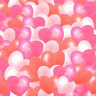 Akwarela różowe, czerwone serca wzór. romantyczny tło. ładny akwarela ilustracja na walentynki.