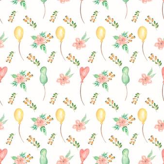 Akwarela różowe i żółte kwiaty wzór. żółty, zielony i czerwony balon, lato delikatne kwiaty wzór