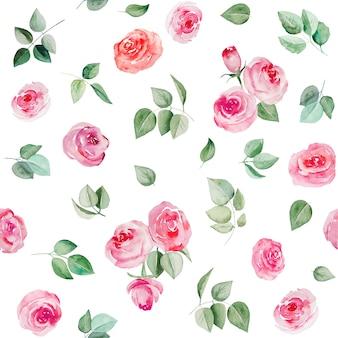 Akwarela różowe kwiaty i liście ilustracja wzór na białym tle