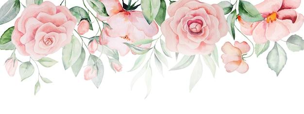 Akwarela różowe kwiaty i zielone liście obramowania, romantyczna pastelowa ilustracja do papeterii ślubnej, pozdrowienia, tapety, moda, plakaty