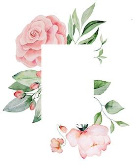 Akwarela różowe kwiaty i zielone liście ramki karty, romantyczna pastelowa ilustracja do papeterii ślubnej, pozdrowienia, tapeta, moda, plakaty