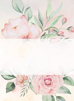 Akwarela różowe kwiaty i zielone liście ramki karty, romantyczny pastelowy ilustracja z tłem akwareli. do papeterii ślubnej, życzeń, tapet, mody, plakatów