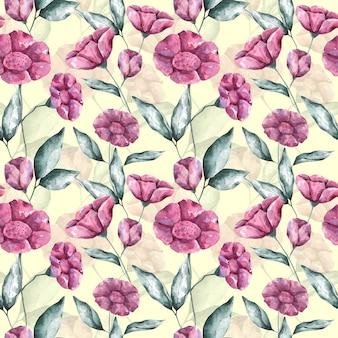 Akwarela różowe kwiaty na jasnożółtym tle wzór. ręcznie rysowane powtarzalny druk botaniczny. kwiatowy wzór na tekstylia, tkaniny, tapety, opakowania, opakowania i dekoracje.