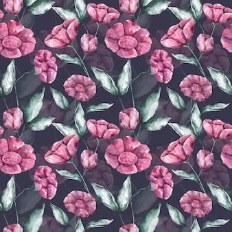 Akwarela różowe kwiaty na pastelowym niebieskim tle wzór. ręcznie rysowane powtarzalny druk botaniczny. kwiatowy wzór na tekstylia, tkaniny, tapety, opakowania, opakowania i dekoracje.