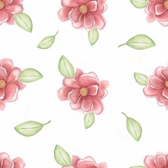 Akwarela różowe piwonie z geen pozostawia na białym tle