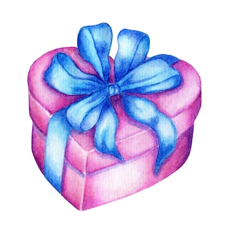 Akwarela różowe pudełko w kształcie serca z niebieską kokardką