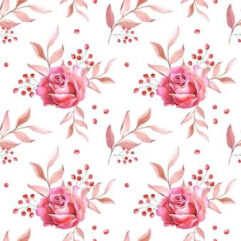 Akwarela różowe róże, liście i czerwone jagody. kwiaty na białym tle. wzór. ilustracja do druku, tekstyliów, tkanin, papieru do pakowania, zaprojektuj stronę internetową.