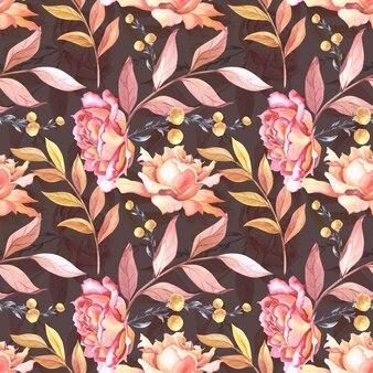 Akwarela różowe róże, liście i czerwone jagody. kwiaty na białym tle. wzór.