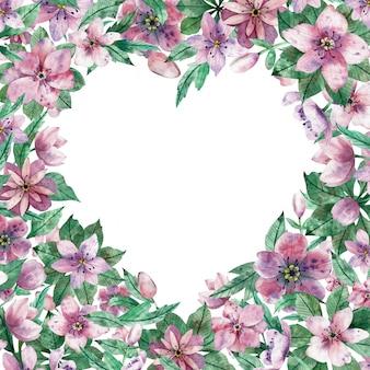Akwarela różowe serce kwiatowy rama z kwiatami i środkowym białym tle
