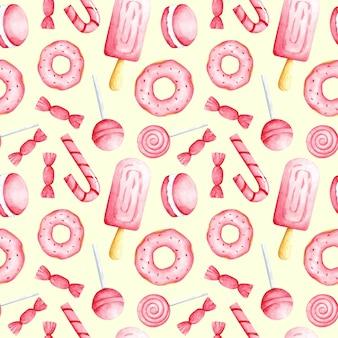 Akwarela różowe słodkie jedzenie na jasnożółtym tle wzór bez szwu cukierki drukuj słodkie słodycze ozdoba do tapet tekstylnych papier pakowy do pakowania menu kawiarnia obejmujące projektowanie i dekorację