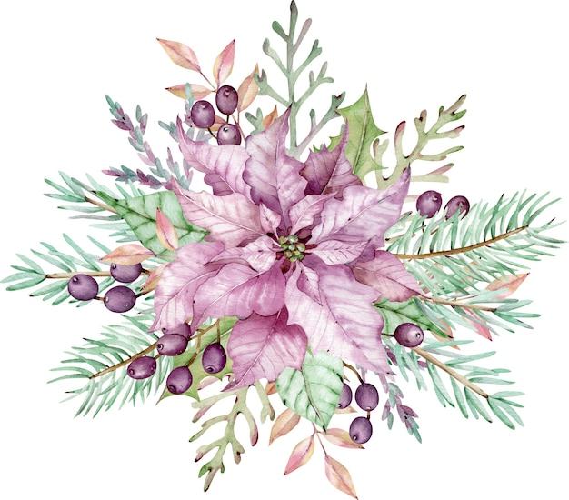 Akwarela różowy kwiat poinsettia z zielonych liści, gałęzi sosny i jagód. kompozycja świąteczna. noworoczna karta kwiatowy. ręcznie rysowane ilustracja na białym tle.