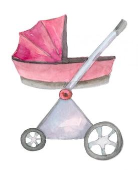 Akwarela różowy wózek