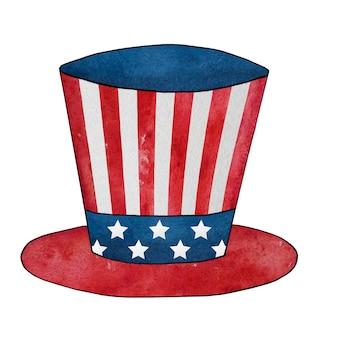 Akwarela, rysunek cylindra z wizerunkiem flagi amerykańskiej.
