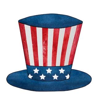 Akwarela, rysunek górnej nakrętki z wizerunkiem flagi amerykańskiej.