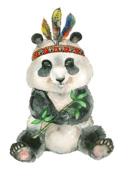 Akwarela siedzi panda