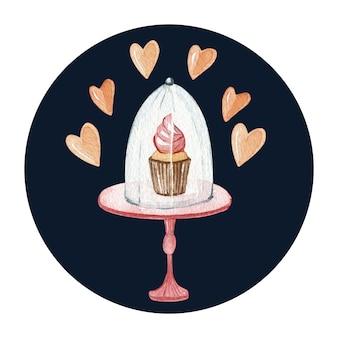 Akwarela słodki deser ilustracja na podstawce do ciasta. pyszne ciasto i kremowa babeczka. miłość i serca