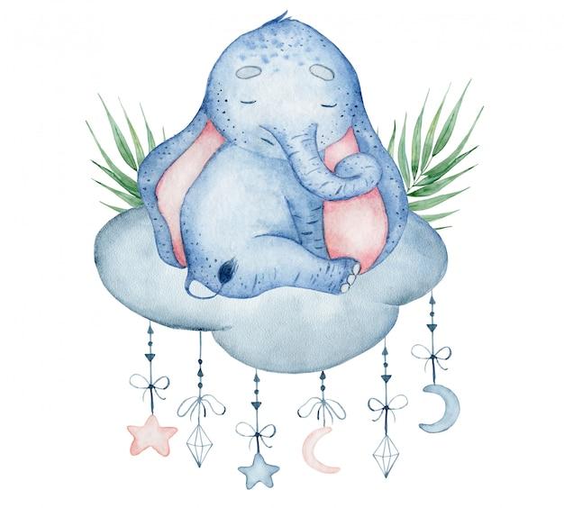 Akwarela słodki słoń siedzi na chmurze zwierząt ilustracja