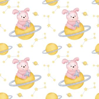 Akwarela słodkie króliki bezszwowe wzory