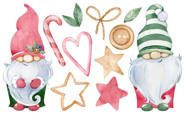 Akwarela słodkie małe krasnale świąteczne
