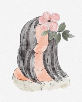 Akwarela streszczenie portret kobiety z kwiatem we włosach. akwarela, rysunek