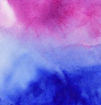 Akwarela streszczenie tło niebieski i różowy lub fioletowy, rysunek odręczny