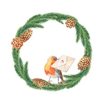 Akwarela świąteczna ramka z ptakiem robin, ostrokrzewem, liśćmi, jagodami, sosną, świerkiem zielonym
