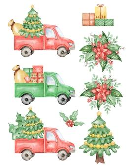Akwarela świąteczne ciężarówki clipart, ręcznie rysowane ilustracja na białym tle, zestaw samochodów nowy rok na białym tle