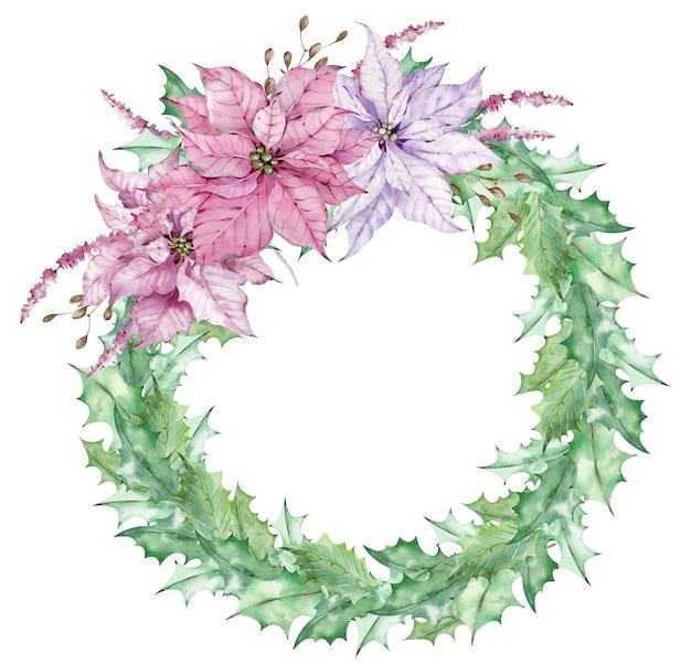 Akwarela świąteczny wieniec z liści jemioły ozdobiony różowymi kwiatami poinsecji. ręcznie rysowane świąteczne karty. szablon noworoczny.