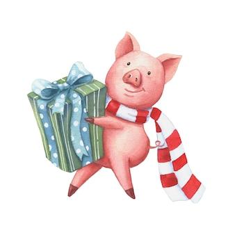 Akwarela świnia z prezentem na boże narodzenie