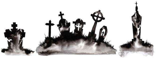 Akwarela sylwetka drzewa i grobu. cudowna pocztówka na halloween