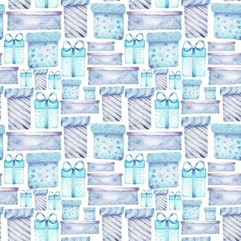 Akwarela szwu z prezenty na boże narodzenie w kolorach niebieskim i fioletowym.