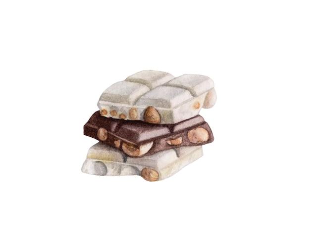 Akwarela tabliczka czekolady.