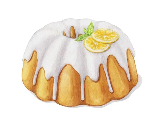 Akwarela tort cytrynowy z polewą cukrową
