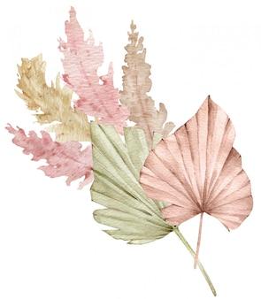 Akwarela tropikalna kompozycja z liśćmi wachlarzy i trawą pampasów