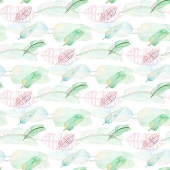 Akwarela tropikalna palma pozostawia wzór. zielony i różowy liść palmowy