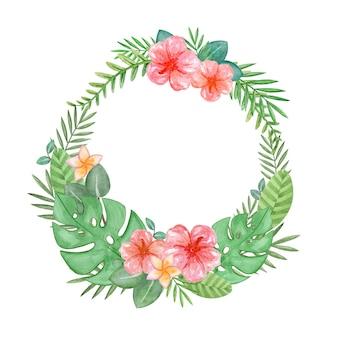 Akwarela tropikalna rama egzotycznych liści i hibiskusa akwarela zielony wieniec palmy